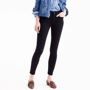 "J Crew 8"" toothpick black skinny ankle jeans"